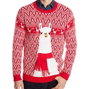 33 Degrees Ugly Christmas Sweater Llama Scarf Red